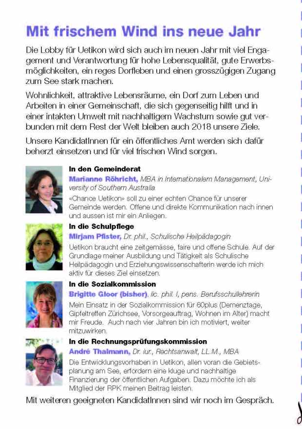 Festtagskarte 2017 Kandidatinnen